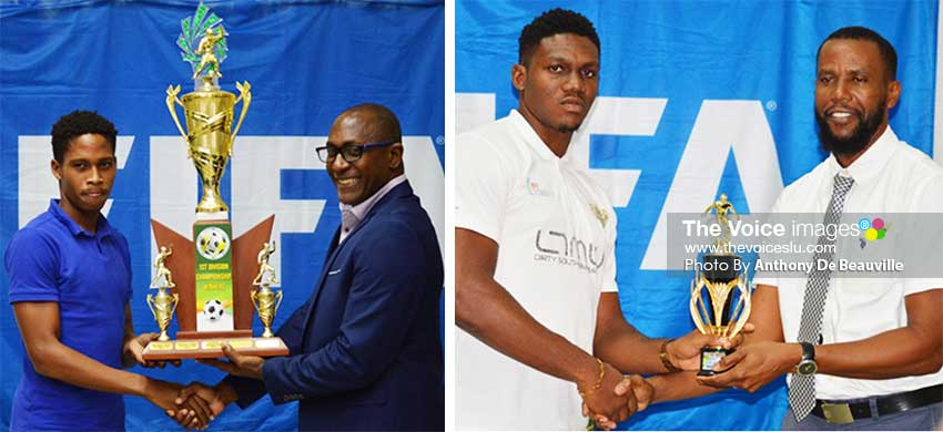 Image: (L-R) A representative from Platinum FC receiving the championship trophy from Chairman National Lotteries Authority – Caron Serieux;  Best Goalkeeper, Noah Didier receiving his award from Permanent Secretary in the Ministry for Youth Development and Sports – Benson Emille. (PHOTO: Anthony De Beauville)