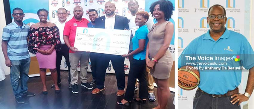 Image: SLBF President, Leslie Collymore and LAB Co-Founder Greg Griffith receiving a sponsorship cheque from 1st National Bank representative; 1st National Bank Executive Manager/ Marketing and Public Relations all set for Centre Court. (PHOTO: Anthony De Beauville)