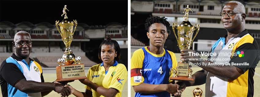 Image: (L-R) SLFA Vice President Southern Region, Emmanuel Bellase presenting the championship and second place trophy to Saint Vincent and the Grenadines, and Saint Lucia's captain espectively. (PHOTO: Anthony De Beauville)
