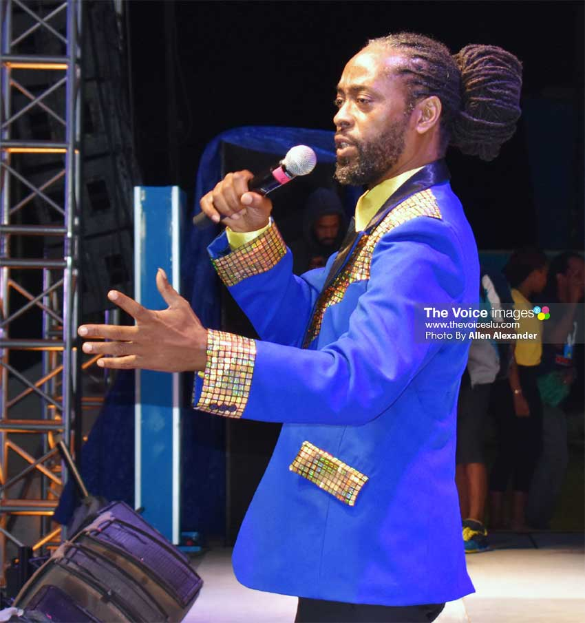 Image of TC Brown, the 2018 Calypso Monarch, defending his crown in the second round. [PHOTO BY Allen Alexander]