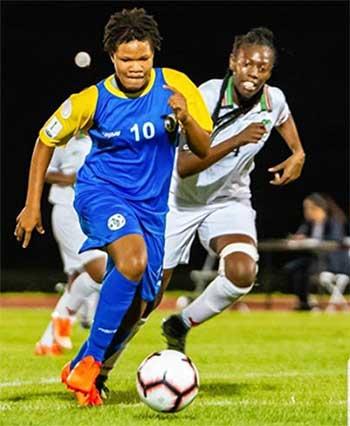 Image of Saint Lucia No.10 Tanika Bernard scored a hat trick against Suriname. (Photo: EB)
