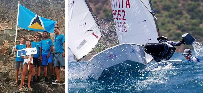 Image: Team Saint Lucia in Antigua; some of the action on day 2. (PHOTO: SLYC/Optimist World)