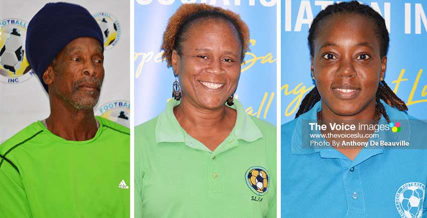 Image: (L-R) Trevor Ander (Head Coach), Liz Mary Campbell (Manager) Ellaisia Marquis (Captain). (PHOTO: Anthony De Beauville)