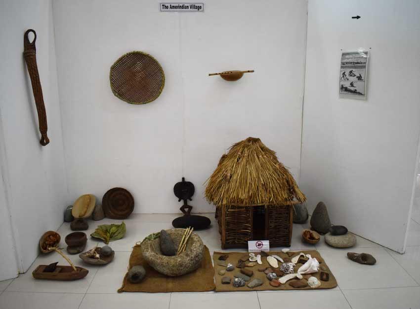 Image of an Amerindian Village on display.