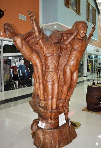 Image: Centrepiece of exhibition. The Sculpture depicts a Crucifixion and Struggle of the Human Spirit.