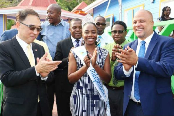 Image: Taiwanese Ambassador Douglas Shen, Miss Soufriere Sancia Charlemagne, and Herod Stanislas, Minister in the Ministry of Agriculture, Fisheries, Physical Planning, Natural Resources and Co-operatives at the Opening of Hummingbird Beach Park.