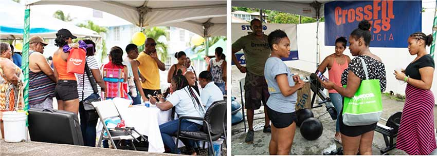 Image: (L-R) Early registration taking place; Studio and Cross Fit personnel giving advice to interested individuals. (Photo: NAGICO)