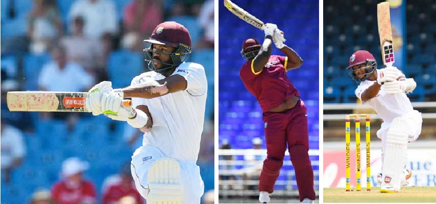 Image: (L-R) John Campbell, Rahkeem Cornwall and Shai Hope. (Getty Images/CWI)