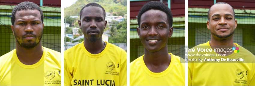 Image: (L-R) Johnson Charles (opening batsman), Jamaal James (top order batsman), Kimani Melius (opening batsman) and Audi Alexander (spinner).(PHOTO: Anthony De Beauville)