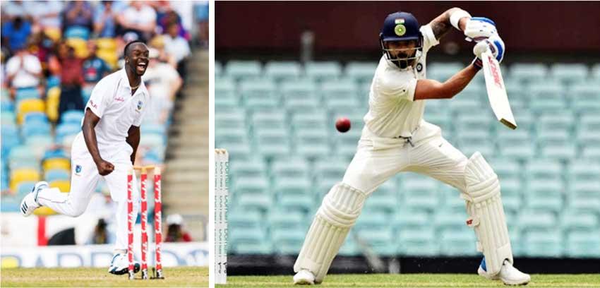 Image: (L-R) West Indies fast bowler Kemar Roach, India captain Virat Kohli. (Photo: Getty Images)