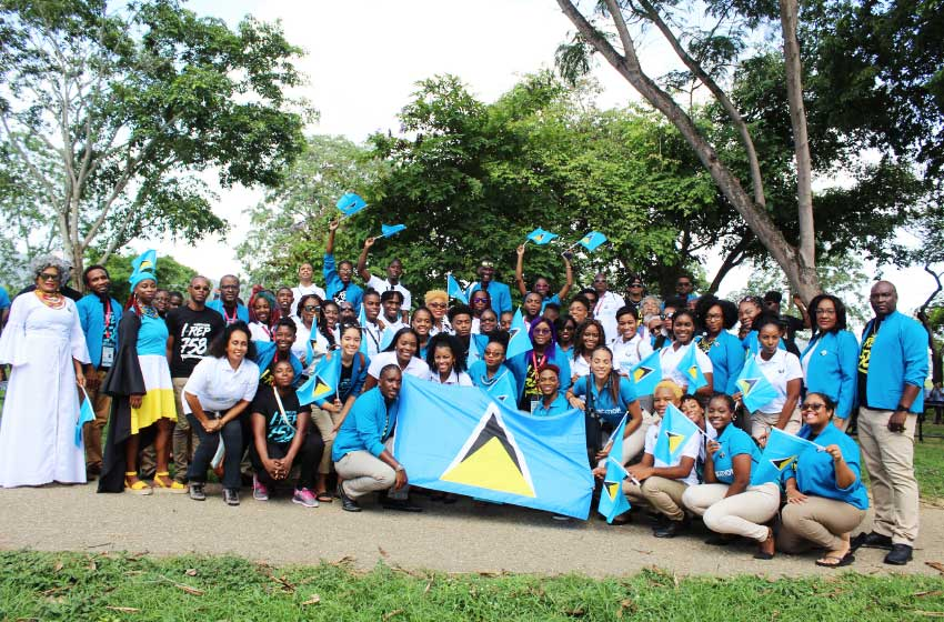 Image: Members of the Saint Lucian contingent representing Saint Lucia at this year's edition of CARIFESTA. [PHOTO: Stan Bishop]