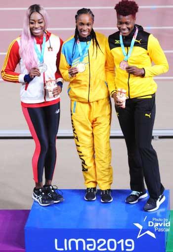Image: (L-R) Pricilla Frederick (Antigua and Barbuda), Levern Spencer (Saint Lucia) and Kimberly Williams (Jamaica) (Photo: Dave Pascal)