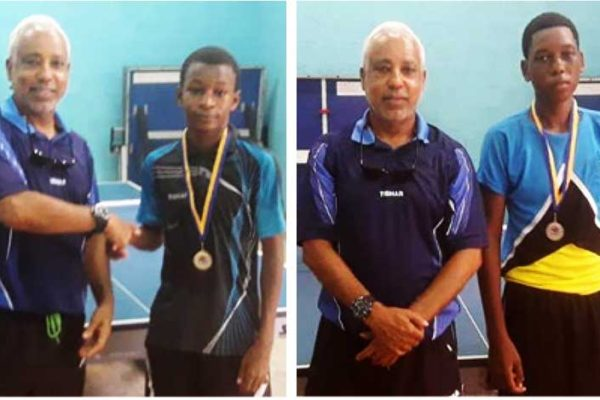 Image: (L-R) SLNTTA President Teddy Matthews presenting Under 15 champion D'Andre Calderon and finalist Jelanie Dusauzay with their medals. (Photo: SLNTTA)