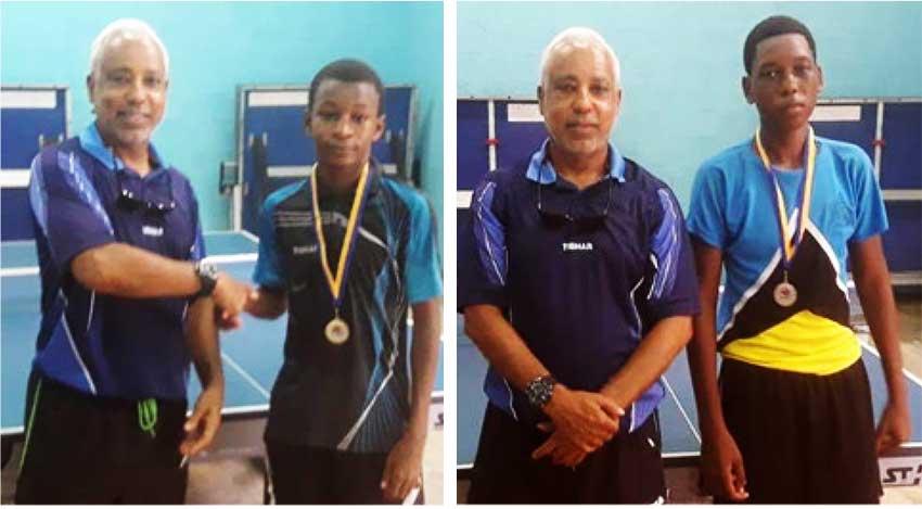 Image: (L-R) SLNTTA President Teddy Matthews presenting Under 15 champion D'Andre Calderon and finalist Jelanie Dusauzay with their medals. (Photo: SLNTTA)