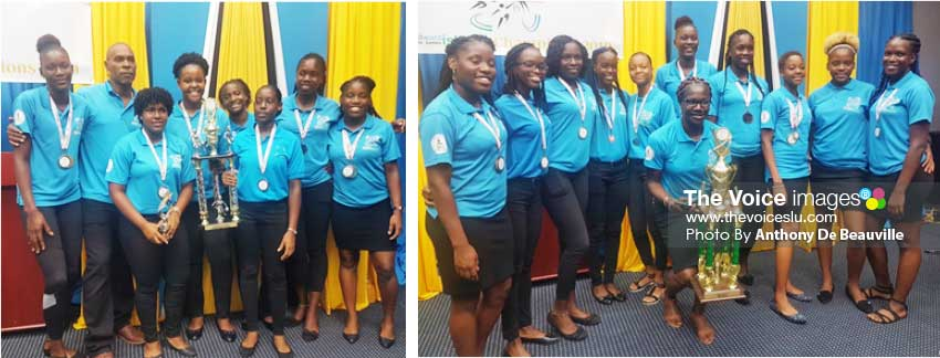 Image: (L-R) Saint Lucia Girls Basketball and Netball teams. (Photo: Anthony DE Beauville)