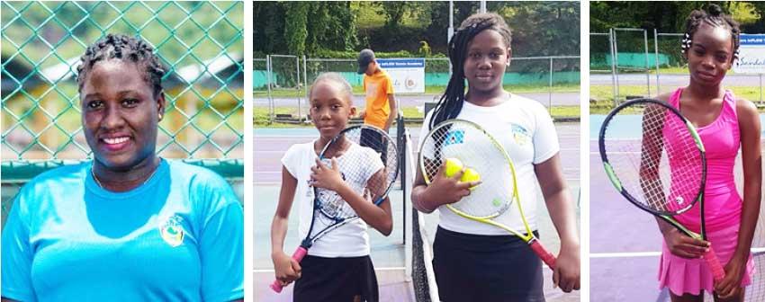 Image: (L-R) Tournament Director – Scyla Murray; Girls Under 12 Brianna Jn Baptiste, Latoya Murray and Amara Jn Marie. (PHOTO: SLTA/ Anthony De Beauville)