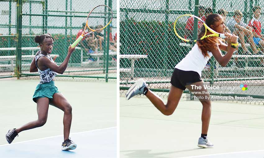 Image: Ladies singles champion, Sibley Charles and runner up Cameron Wong during the finals.(Photo: Anthony De Beauville)