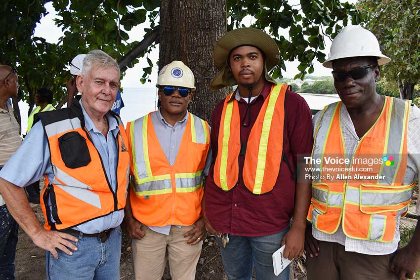 Image of Steve Brinkhurst, Contract Manager of C.O. Williams; Lyndel Norville, Engineering Technician; Chandoy Moses, Engineering Surveyor; Syprian Nelson, Supervisor.[PHOTO: Allen Alexander]