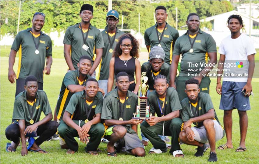 Image: A photo moment for Chaz Cepal (first from right) with the victorious Cobras Team on Sunday 25th August 2019 at the end of the South Castries Cricket Association T20 tournament. (Photo: Anthony De Beauville)