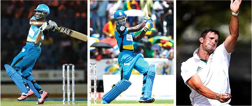 Image: (L-R) Saint Lucia Zouks Captain Daren Sammy; opening batsman, Andre Fletcher, HardusViljoen. (Photo: Randy Brooks/Sportsfile/CPL/Cricbuzz)