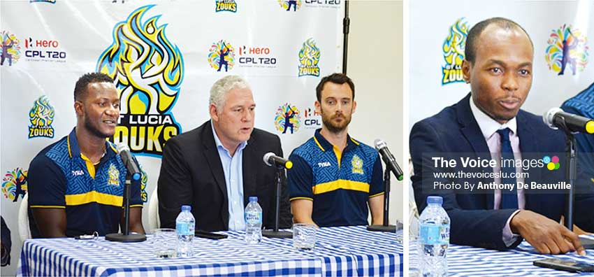 Image: (L-R) Daren Sammy (Saint Lucia Zouks captain), Prime Minister Allen Chastanet, James Foster (Saint Lucia Zouks Coach) and Tourism Minister Dominic Fedee at Tuesday's Press Conference. (Photo: Anthony De Beauville)