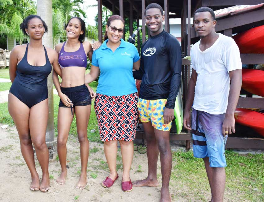 Image: Geraine Georges, Public Relations Officer at the SLTA (centre) with dive students (from left) Bianca Sany, Emma Adlian, Tarrick Wilson and Mandela Joseph.