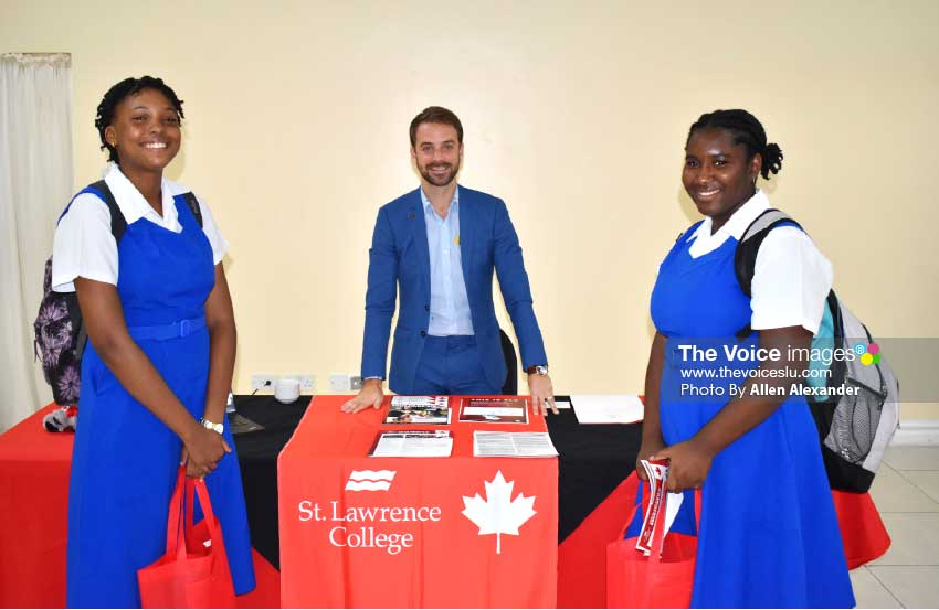 Image of Alex Zimmerman, Regional Manager of International Recruitment at St Lawrence College, with students of St Joseph's Convent. [Photo: Allen Alexander]