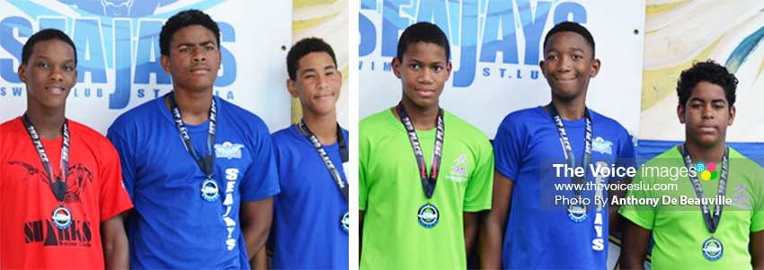 Image: (L-R) Podium finishers, Allandre Cross, Jayhan Odlum- Smith, D'Andre Blanchard, Karic Charles, Tristan Dorville and Ethan Hazell. (PHOTO: Anthony De Beauville)