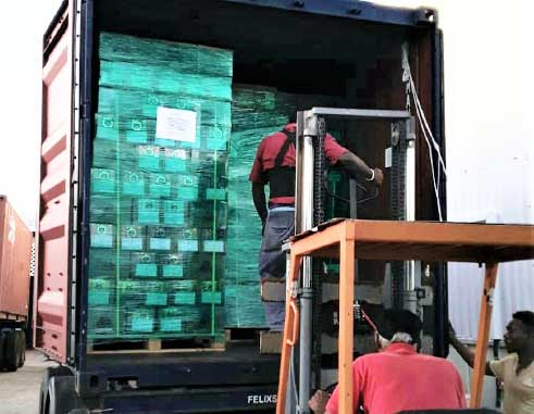 Image of Baron Foods' Russia shipment being assembled.