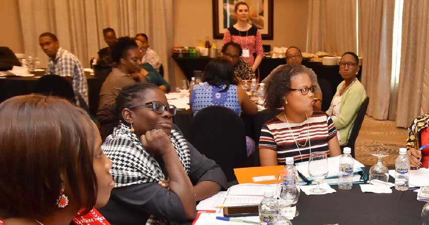 Image of educators at the recently held Teachers' Resource Guide Workshop hosted at Sandals Regency La Toc Resort and Spa by the non-profit organization Hands Across the Sea in collaboration with the Early Learners Programme.