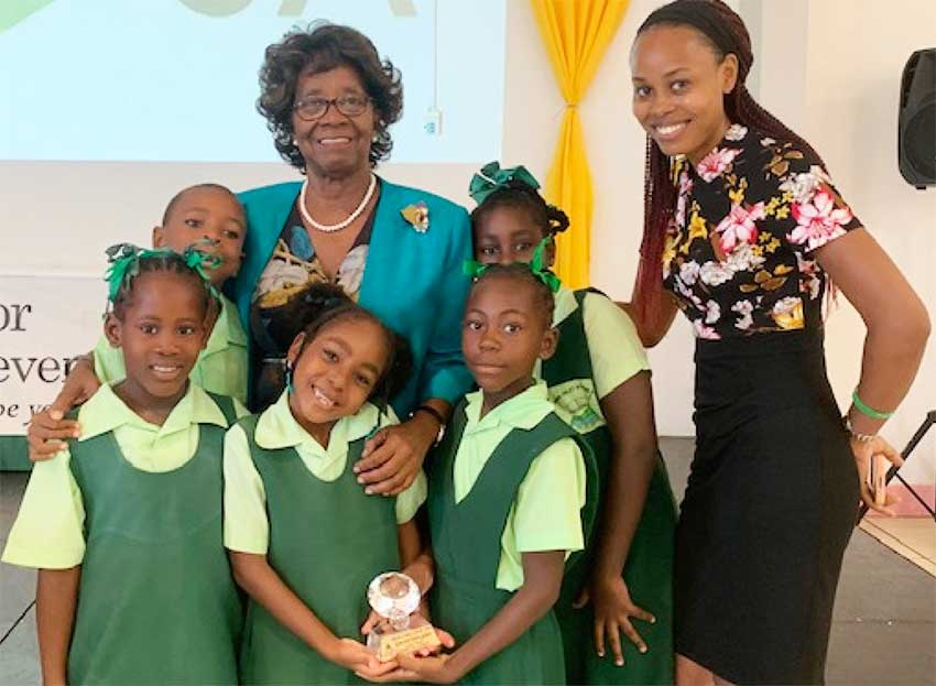 Image: Group photo with students from Choiseul Secondary.