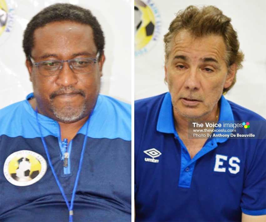 Image: (L-R) Post match press conference, Jamaal Shabazz (Saint Lucia Head Coach); Carlos De- Los- Cobos (El Salvador Head Coach). (PHOTO: Anthony De Beauville)