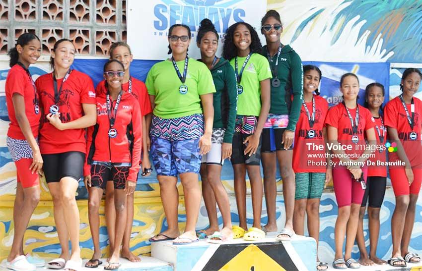 (L-R) Medal winners, Sharks 1 - silver, Lightning Aquatics - gold and Sharks 2 - bronze. (PHOTO: Anthony De Beauville)