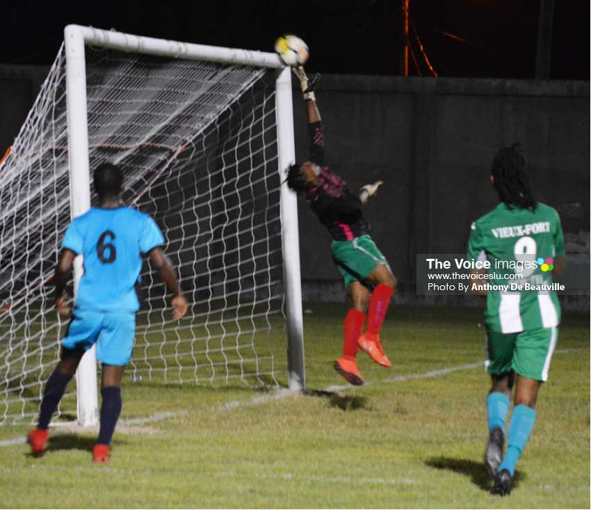 Image: One of the many saves by Desruisseaux goalkeeper Marcus Marquis to deny VFS. (Photo: Anthony De Beauville)