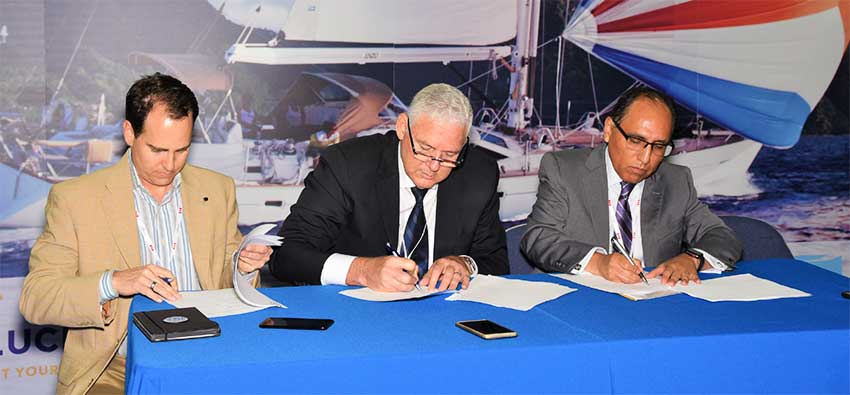 Image: Signing of MOU by Saint Lucia's Prime Minister and representatives from Royal Caribbean and Carnival Corporation.