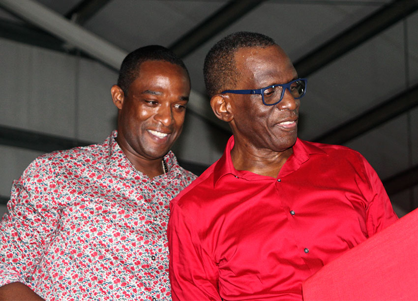 Image: Wayne Girard (left) with SLP Political Leader Philip J Pierre at Sunday's Conference of Delegates.