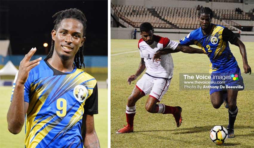 Image: (L-R) Goal scorer for Saint Lucia  No. 9 Antonio Joseph; Saint Lucia No. 2 Kurt Frederick (defender) keeps Dominican Republic No. 4 Benjamin Nunez at bay. (PHOTO: Anthony De Beauville)