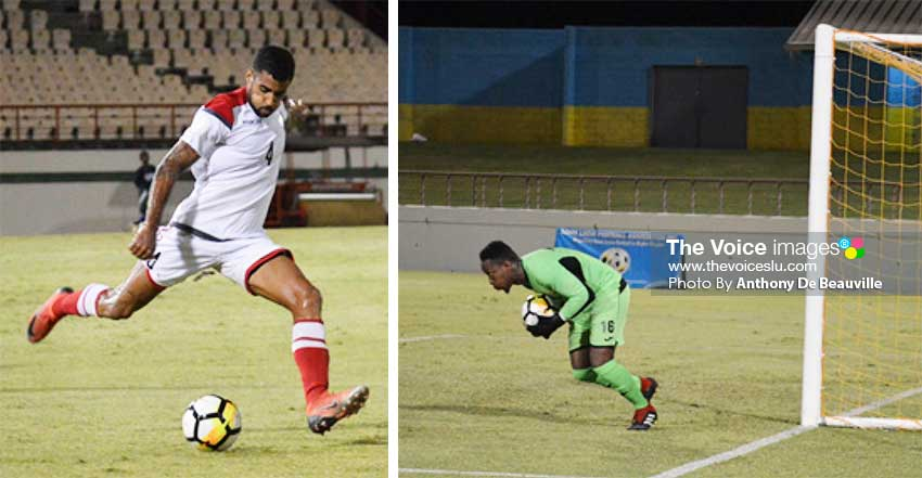 Image: Benjamin Nunez takes a powerful right foot shot to goal; Saint Lucia No.16 Lamar Joseph (goalkeeper) was safe on the night . (PHOTO: Anthony De Beauville)