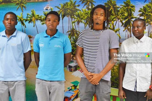 Image: (L-R) Some of Saint Lucia's participants in the 2019 ARC, Chrisanki Flood, Adonai Modeste, Tyrus Antoine and Krishna Joseph. (PHOTO: Anthony De Beauville)