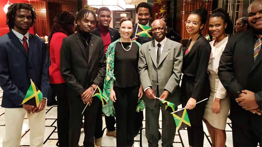 Image: Jamaica's Minister of Foreign Affairs and Foreign Trade, Senator the Honourable Kamina Johnson-Smith with Jamaican students from The University of the West Indies - China Institute of Information Technology (UWI-CIIT) at a private reception during an official visit to China on November 3, 2019.