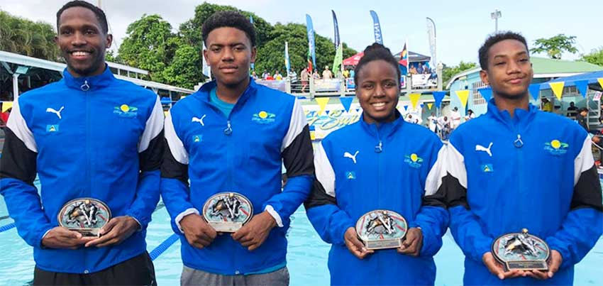 Image: (L-R) High points winners Jean Luc Zephir, Jayhan Odlum-Smith, Mikaili Charlemangne and Antoine Destang. (PHOTO: SLAF).