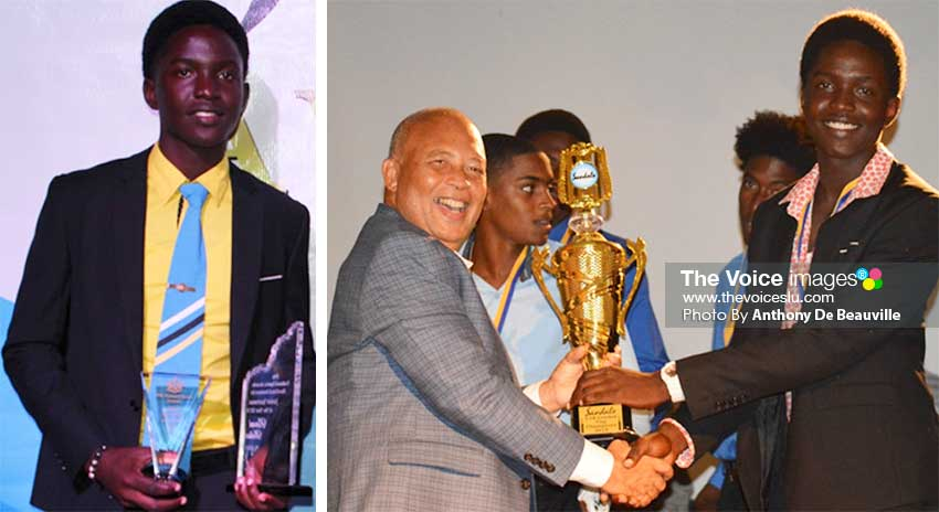 Image: (L-R) Junior Sportsman the Year Kimani Melius; Sandals Grande General Manager Winston Anderson presenting the 2019 Under 19 Sandals Cup to Gros Islet captain, Kimani Melius. (PHOTO: Anthony De Beauville)