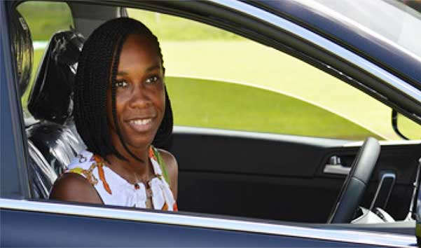 Image: Multiple Sportswoman of the Year, Levern Spencer drives out of the MPP in grand style. (PHOTO: Anthony De Beauville)