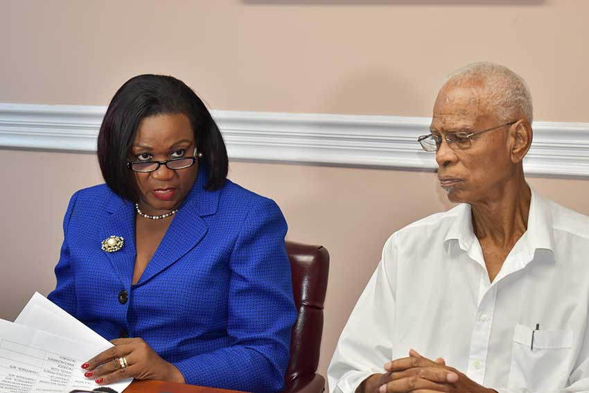 Image of Mauricia Thomas Francis, Chairperson of the National Awards Committee (left), and Gregory St Jour, representative of the National Awards Committee.