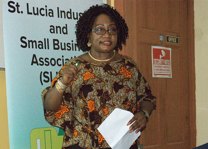 Image of SLISBA's President Flavia Cherry speaking at the workshop