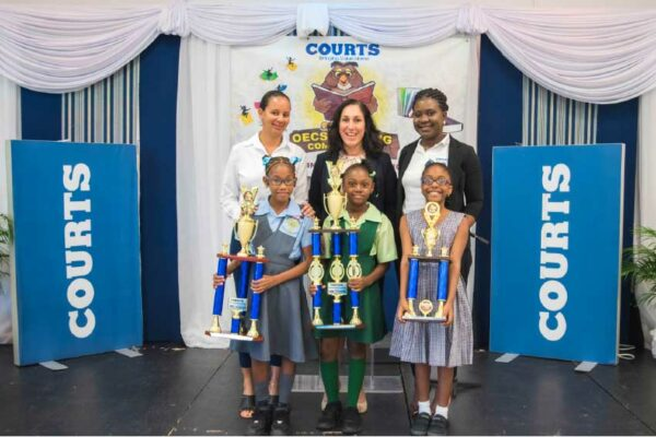 Image: The top place finishers in the 10th edition of Courts' Annual National Reading Competition.