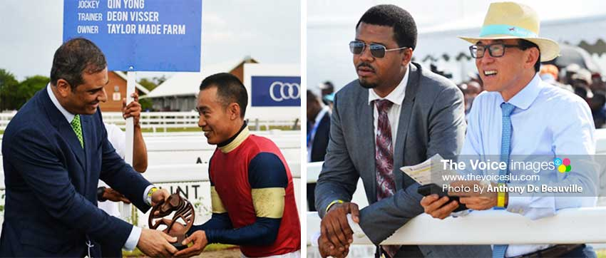 Image: (L-R) The Jockey for Casting Crowns Qin Yong receiving his award; Jallim Eudovic and Teo An Khing taking in the action. (PHOTO: Anthony De Beauville)