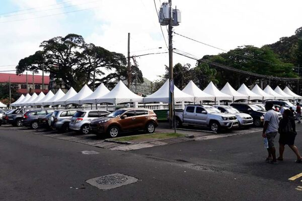 Image of tents already erected on The Sir Derek Walcott Square for Assou Square
