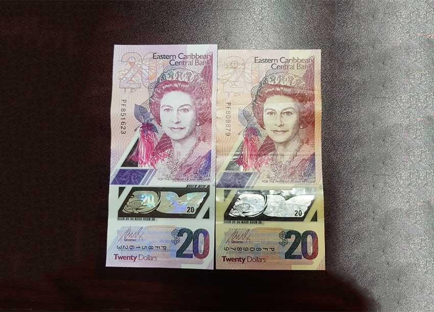 Image of real vs fake 20 EC dollar bill