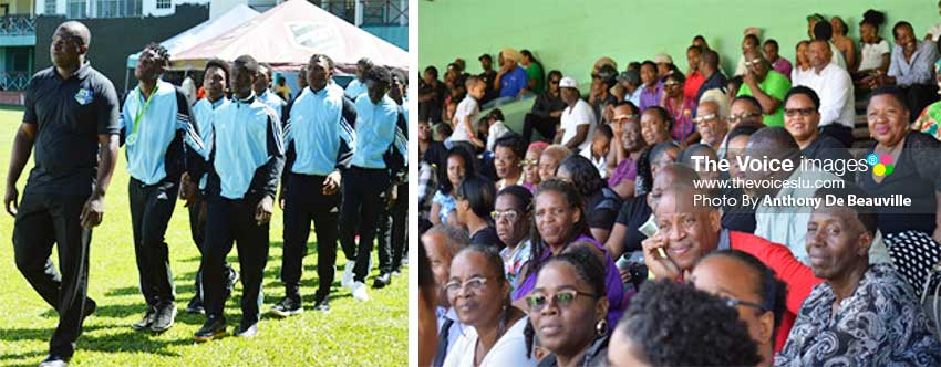 Image: (L-R) President of the Marchand Football League, Christopher Clarke leading his troop from the front; a section of the crowd who came to bid farewell. (Photo: Anthony De Beauville)